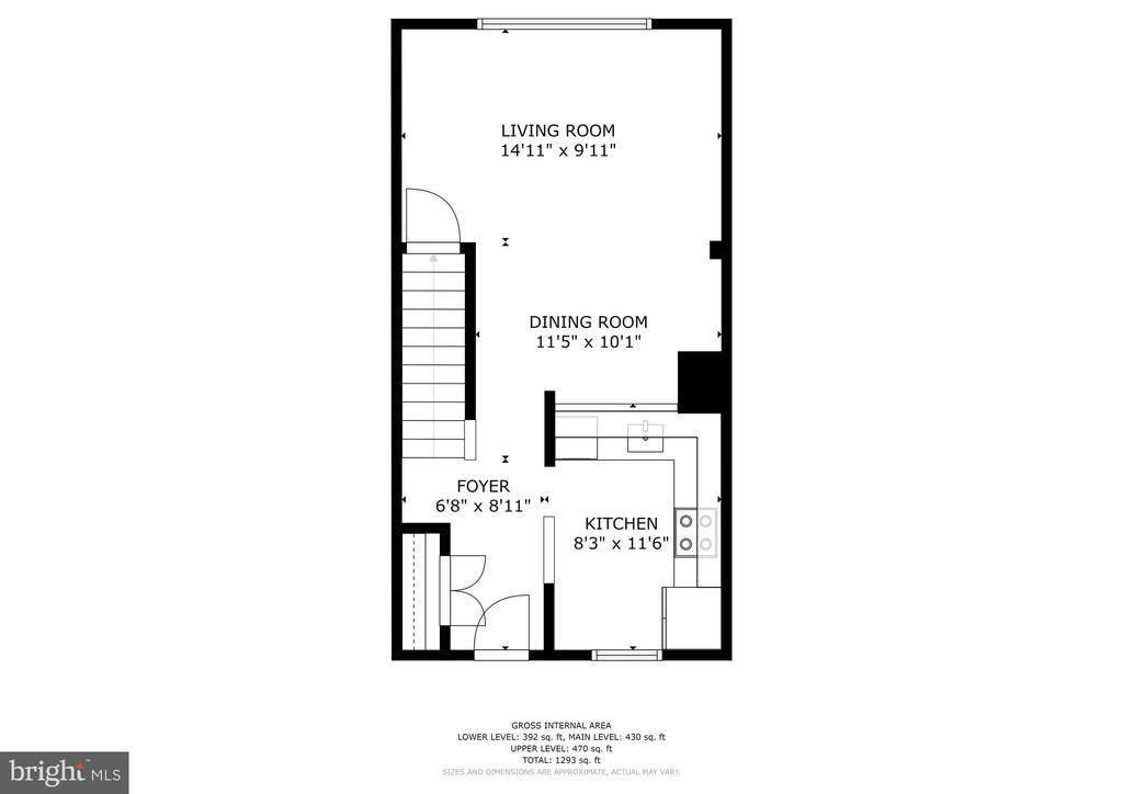 Main level floorplan - 2810 S MEADE ST, ARLINGTON