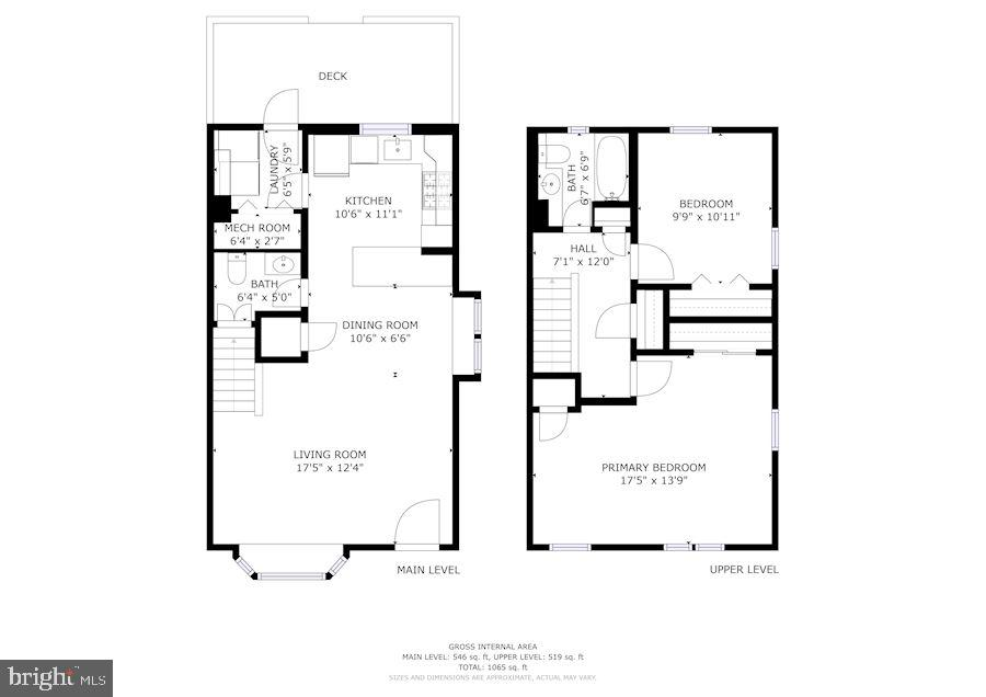 Floor Plan of Main & Upper Levels - 3833 JAY AVE, ALEXANDRIA