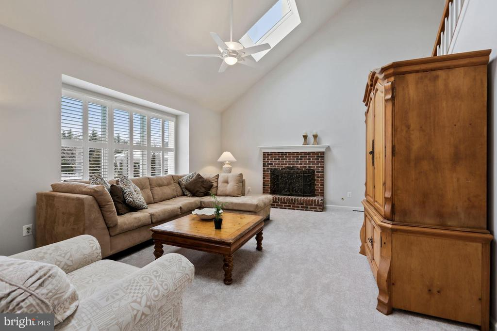 Vaulted Ceiling in Family Room with 2 skylights - 20004 HAZELTINE PL, ASHBURN