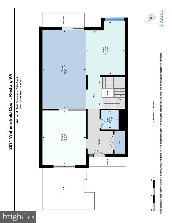 Floorplan Main Level - 2071 WETHERSFIELD CT, RESTON