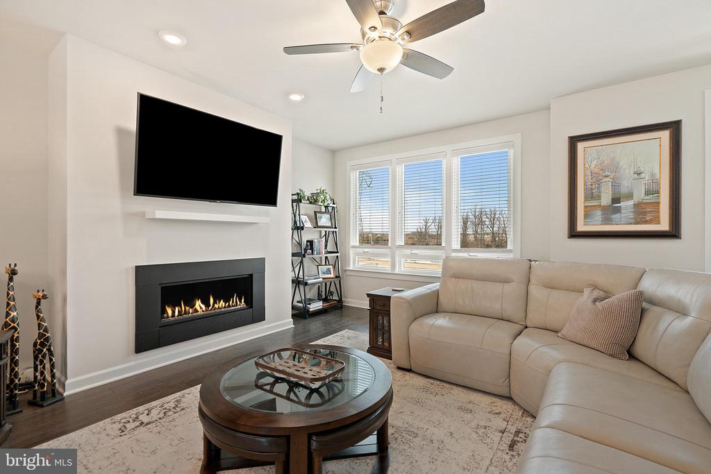 Living Room w/Gas Fireplace and Mounted TV Conveys - 1614 ROCKY SHALE TER SE, LEESBURG
