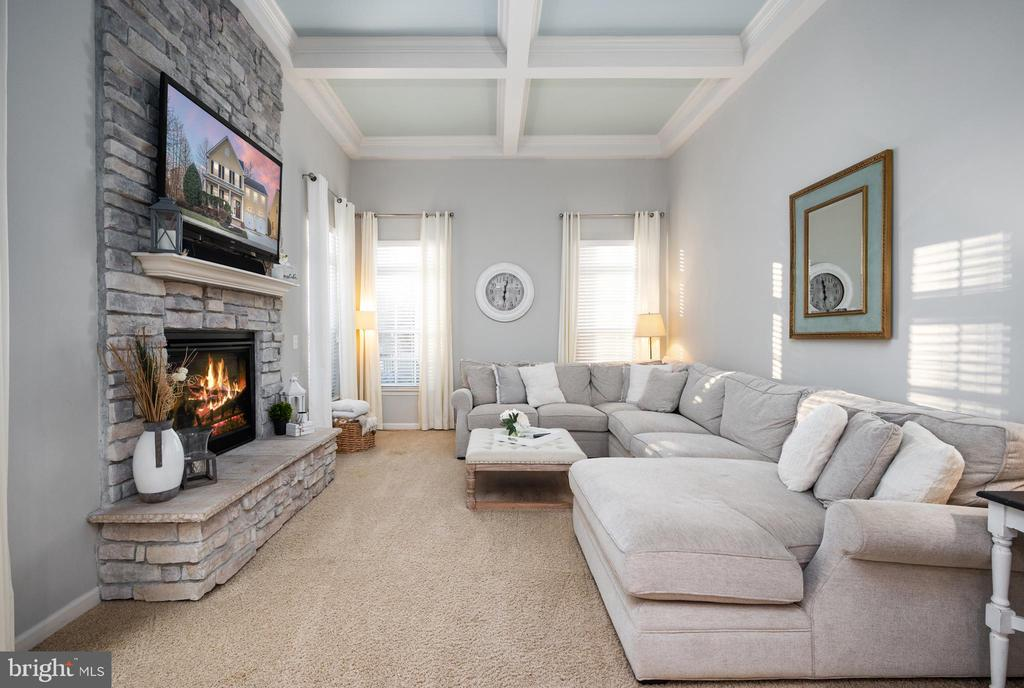 Living Room with Fireplace and Coffered Ceiling - 2140 IDLEWILD BLVD, FREDERICKSBURG