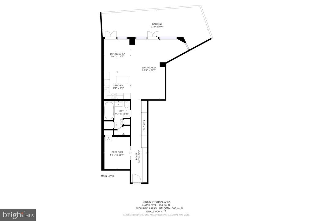 Floor plan - 801 PENNSYLVANIA AVE NW #1026, WASHINGTON