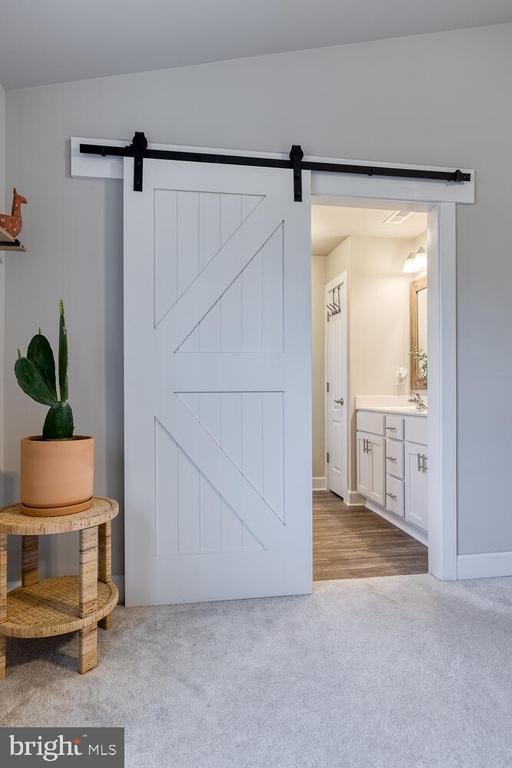 Barn door to Primary Bathroom - 151 WOOD LANDING RD, FREDERICKSBURG