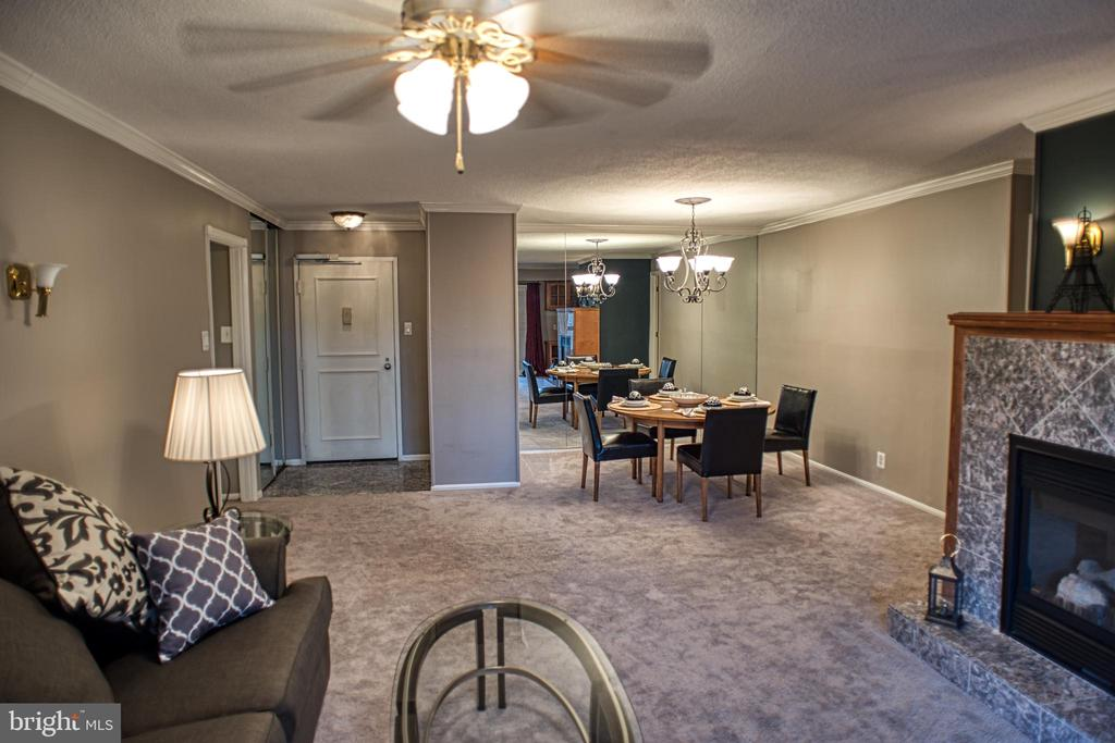 Living Room with Electric Fireplace - 203 YOAKUM PKWY #317, ALEXANDRIA