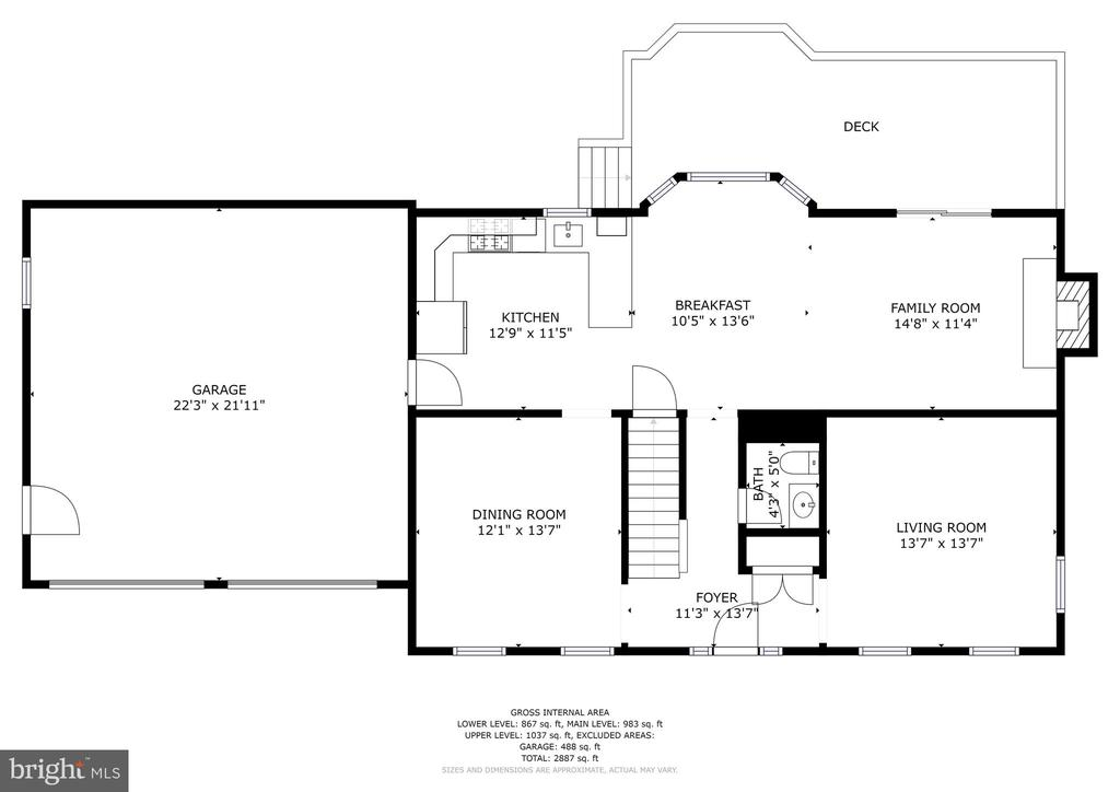 Main level floor plan - 1510 MEADOW CHASE DR, HERNDON
