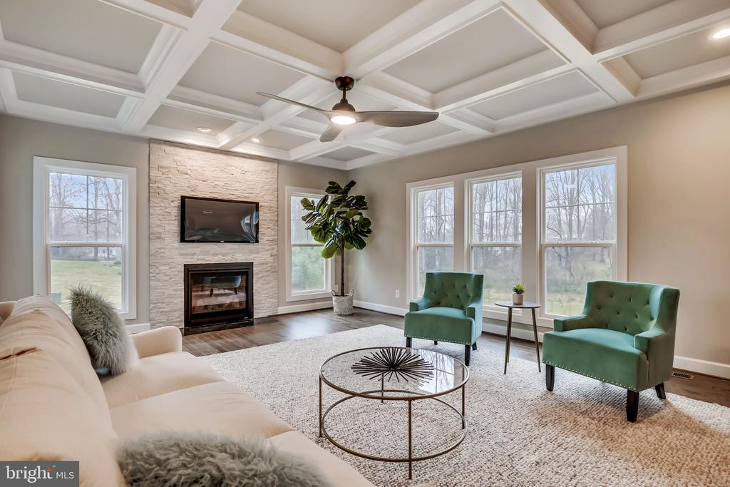 Stone fireplace and coffered ceilings - 9524 LEEMAY ST, VIENNA