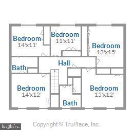 Floor plan, upper level - 3903 BELLE RIVE TER, ALEXANDRIA