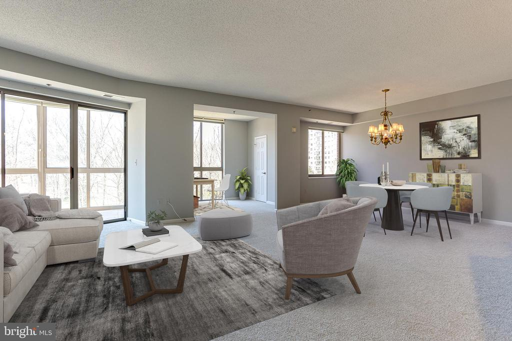 Virtually staged living and dining room - 3100 N LEISURE WORLD BLVD #203, SILVER SPRING