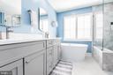 Frameless shower with marble tile - 20261 MACGLASHAN TER, ASHBURN