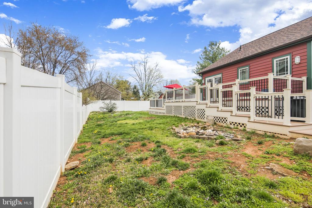 fully fenced yard with Rock Pond