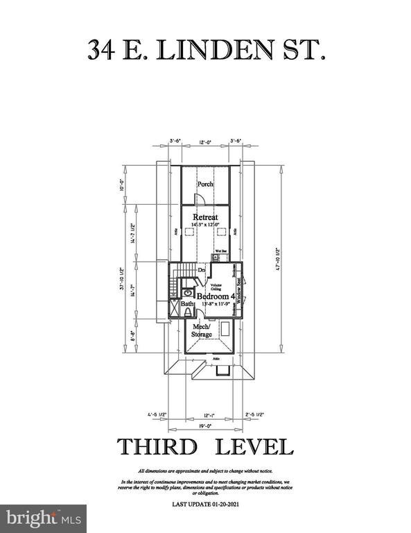 THIRD LEVEL FLOOR PLAN - 34 E LINDEN ST, ALEXANDRIA