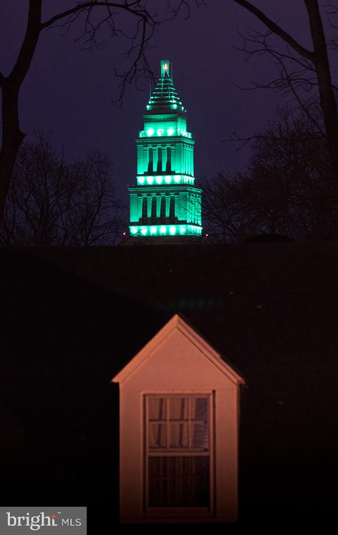 Night view of Masonic Temple from primary bedroom - 301 W GLENDALE AVE, ALEXANDRIA