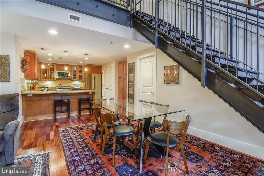 Large Dining view into Gourmet kitchen - 1615 N QUEEN ST #M204, ARLINGTON