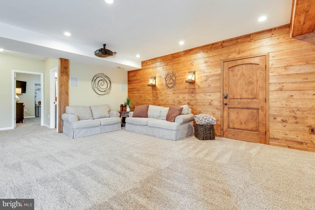 Rec Room w/ Custom Tongue & Grove Pine Shiplap - 24215 CRABTREE CT, ALDIE