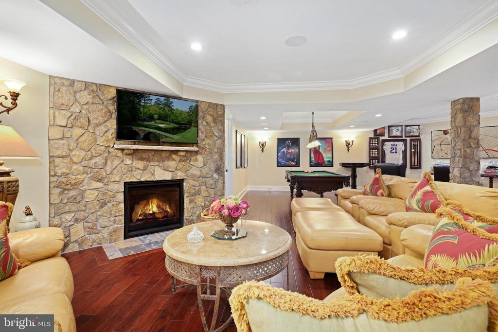 Rec Room with Floor to Ceiling Stone Fireplace - 22608 CREIGHTON FARMS DR, LEESBURG