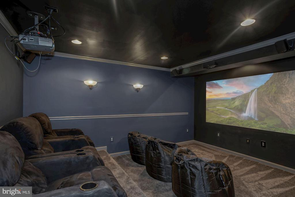 Theater Room- All chairs & tech equipment convey! - 122 BALCH SPRINGS CIR SE, LEESBURG