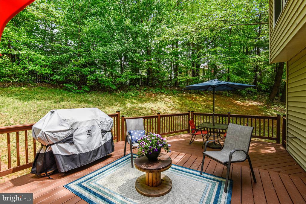 Spacious deck surrounded by peaceful treescape - 15034 HOLLEYSIDE DR, DUMFRIES