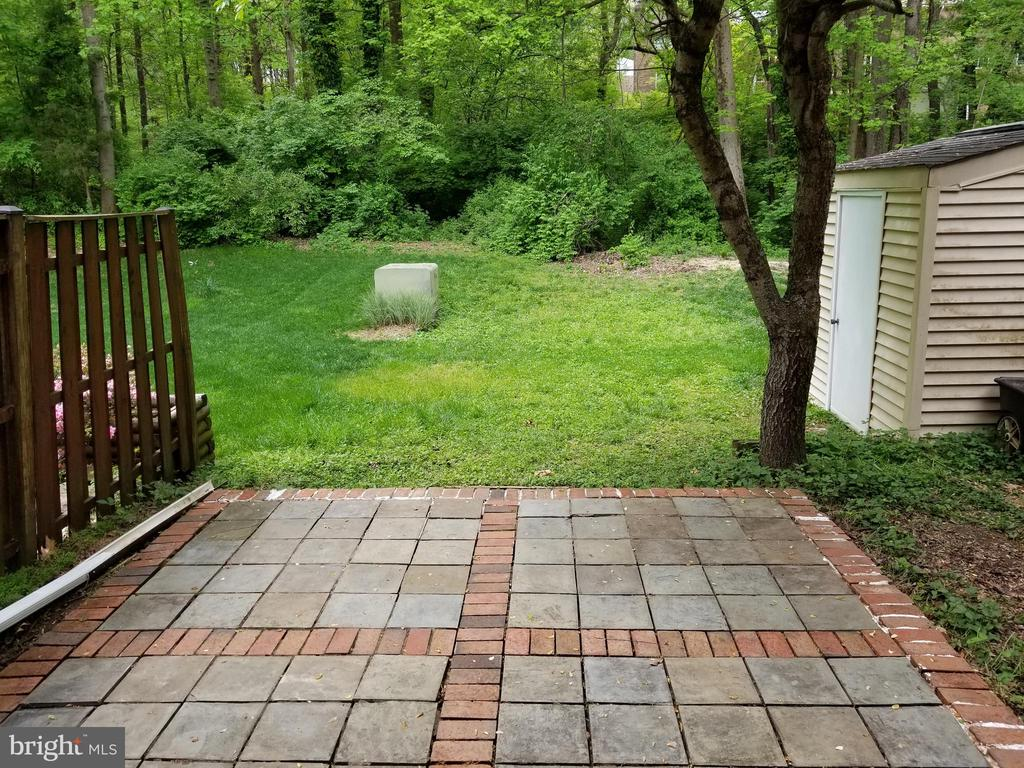 Back yard  with Brick Patio  & Storage Shed - 5832 CANVASBACK RD, BURKE