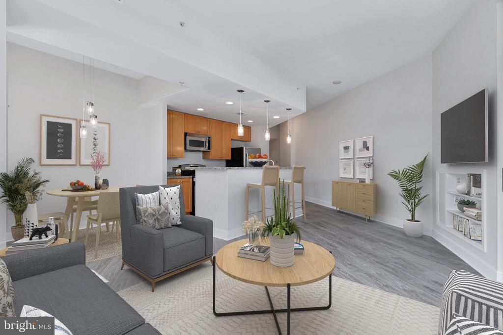 Open and spacious floor plan with new hardwoods - 3600 S GLEBE RD #622W, ARLINGTON