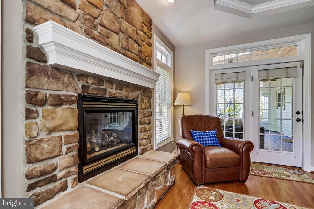 Stone Raised Hearth Gas Fireplace - 43690 MINK MEADOWS ST, CHANTILLY