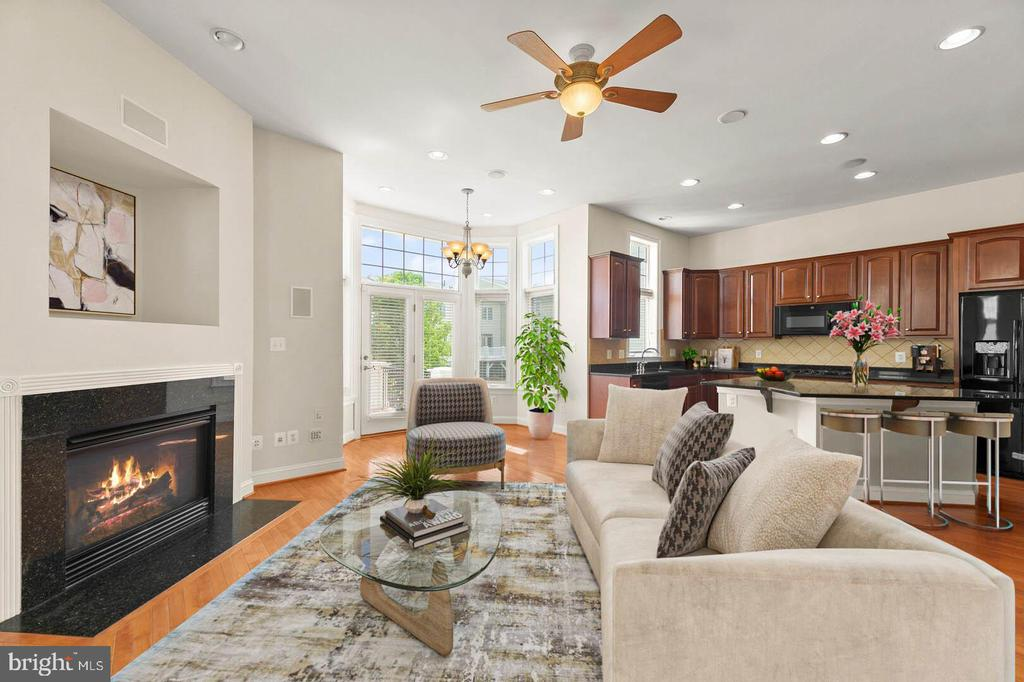 Open kitchen  & family room with fire place - 43575 WILD INDIGO TER, LEESBURG