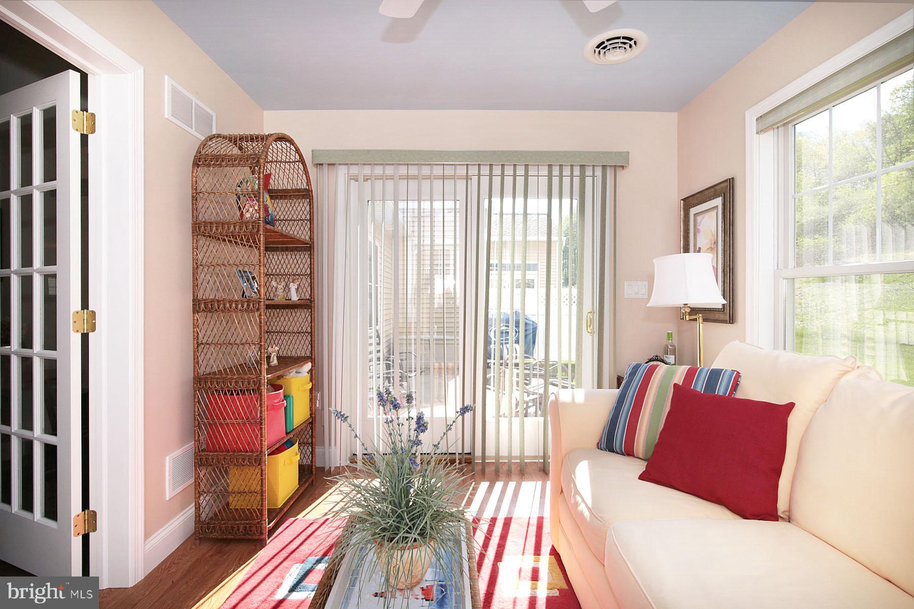 Sunroom leads to patio