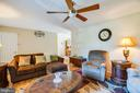 Hardwood floors and ceiling fan in living area - 301 BURR DR, RUTHER GLEN