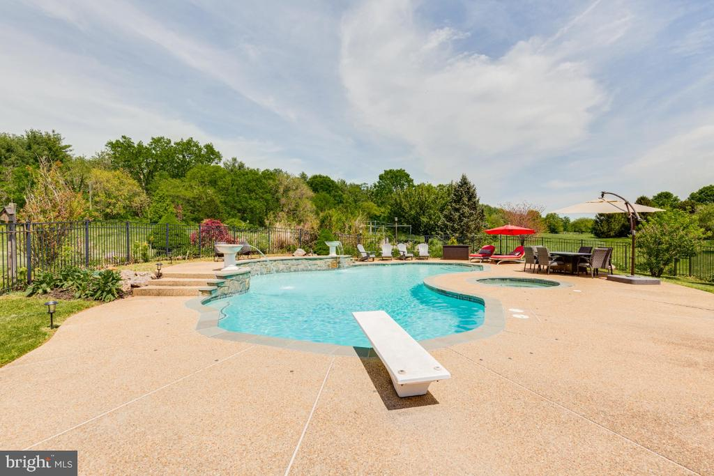Ingound pool with diving board - 42308 GREEN MEADOW LN, LEESBURG