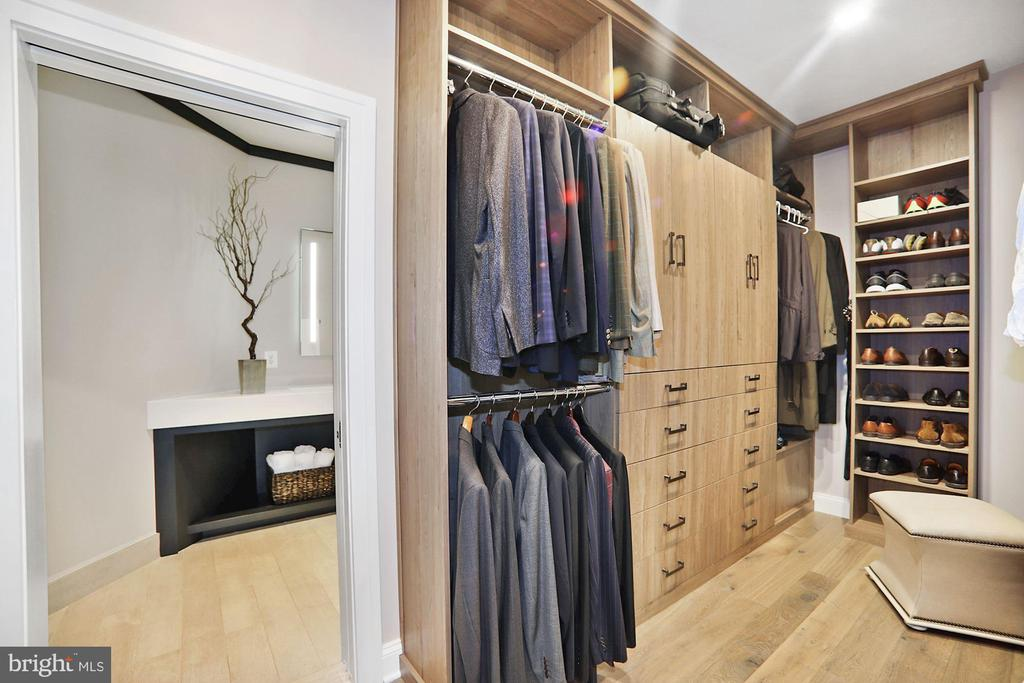 'His' Closet with custom built-ins - 7301 DULANY DR, MCLEAN