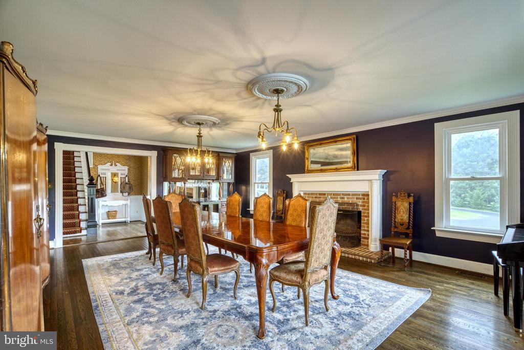 Stunning Dining Room with wood-burning fireplace - 7500 CLIFTON RD, CLIFTON
