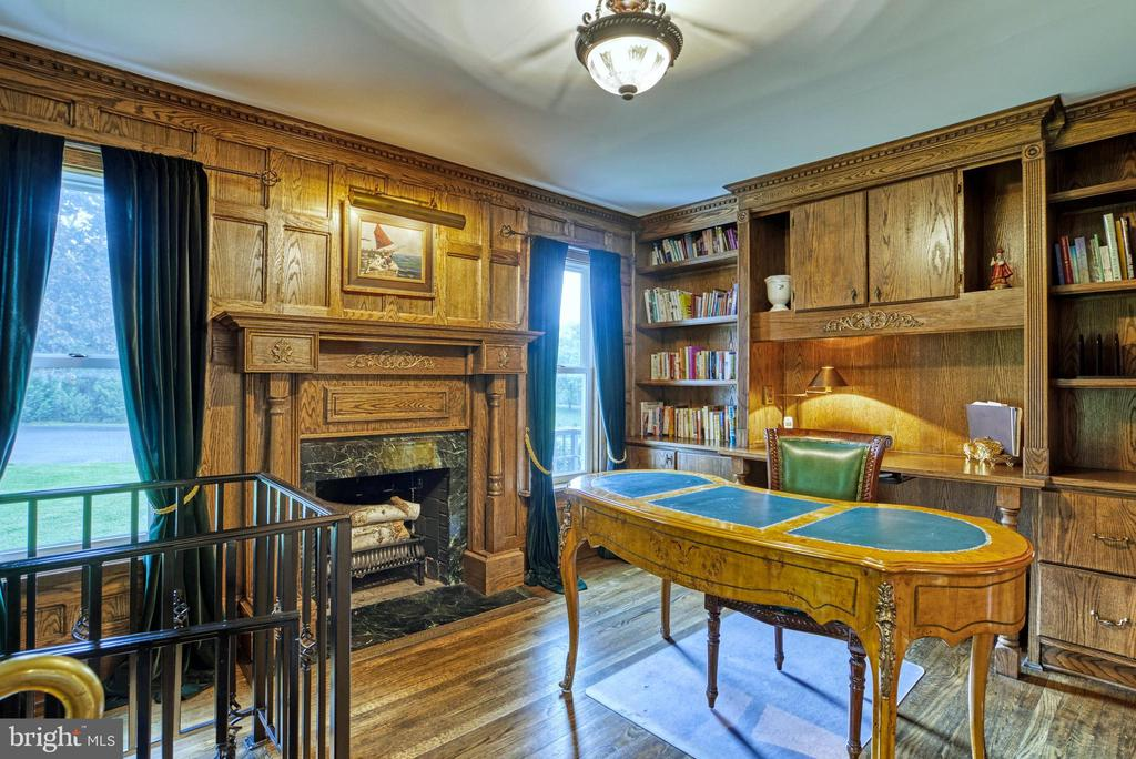 Wood-lined Office w/wood-burning FP and built-ins - 7500 CLIFTON RD, CLIFTON