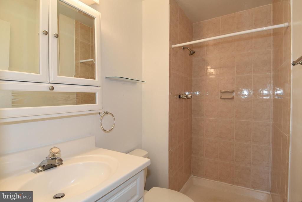 Floor to ceiling tile in Master Bathroom - 6463 FENESTRA CT #50C, BURKE