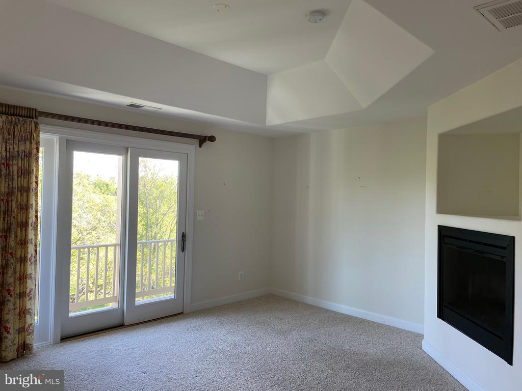 Primary bedroom with gas fireplace & door to deck - 126 N JAY ST, MIDDLEBURG