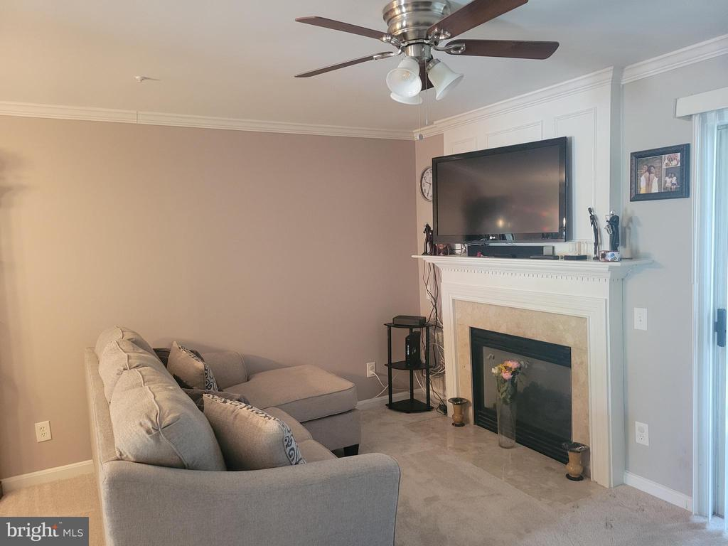 Living room w/Gas Fireplace - 11755 TOLSON PL #11755, WOODBRIDGE