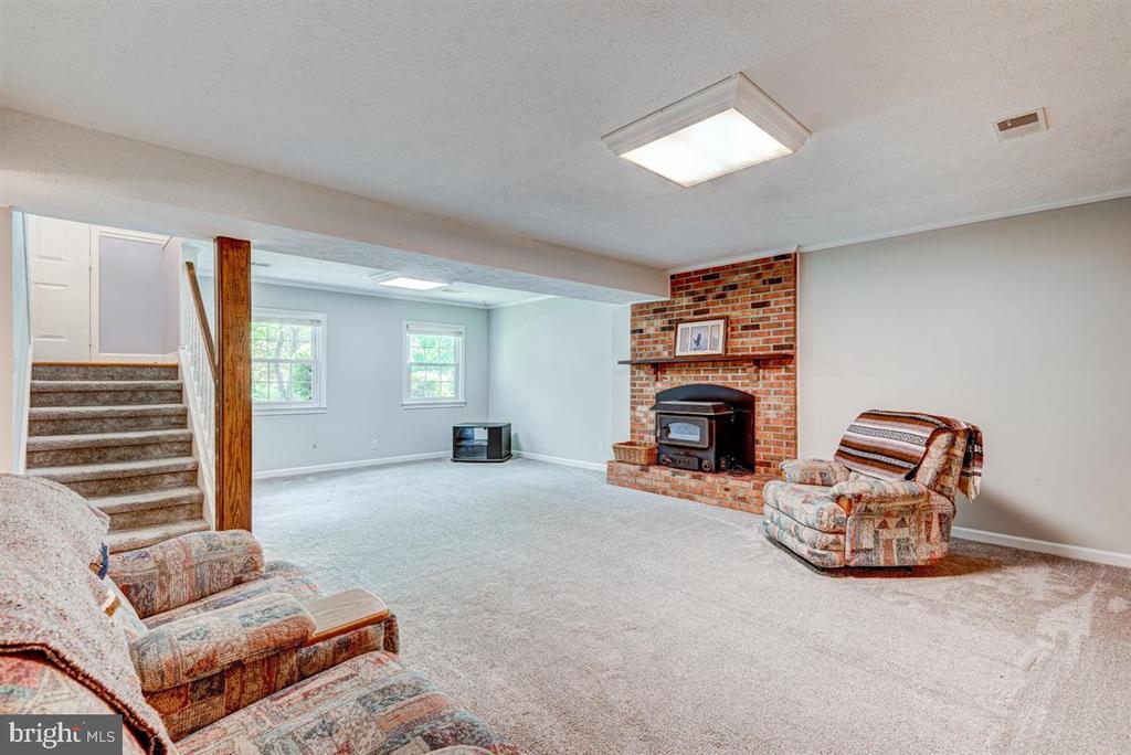 Lower level with plush carpets and wood burning in - 36 SENECA TER, FREDERICKSBURG