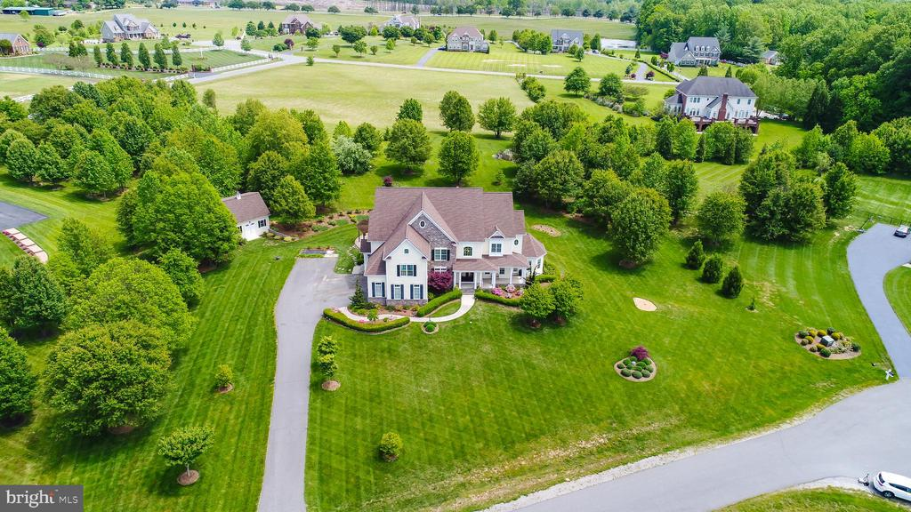 Aerial view of the front of the home - 9903 S HARRIS FARM RD, SPOTSYLVANIA