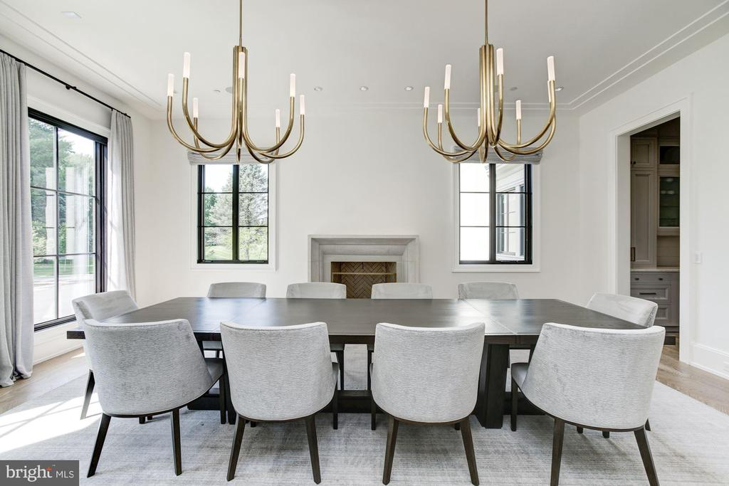 Formal Dining Room with fireplace - 8905 HOLLY LEAF LN, BETHESDA