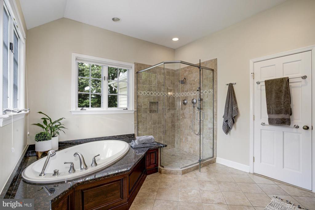 Owners bath has glass shower - 8622 GARFIELD ST, BETHESDA
