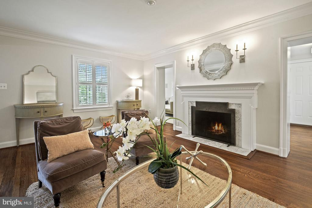 Living room with fireplace, mantel & sconces - 7907 GLENBROOK RD, BETHESDA
