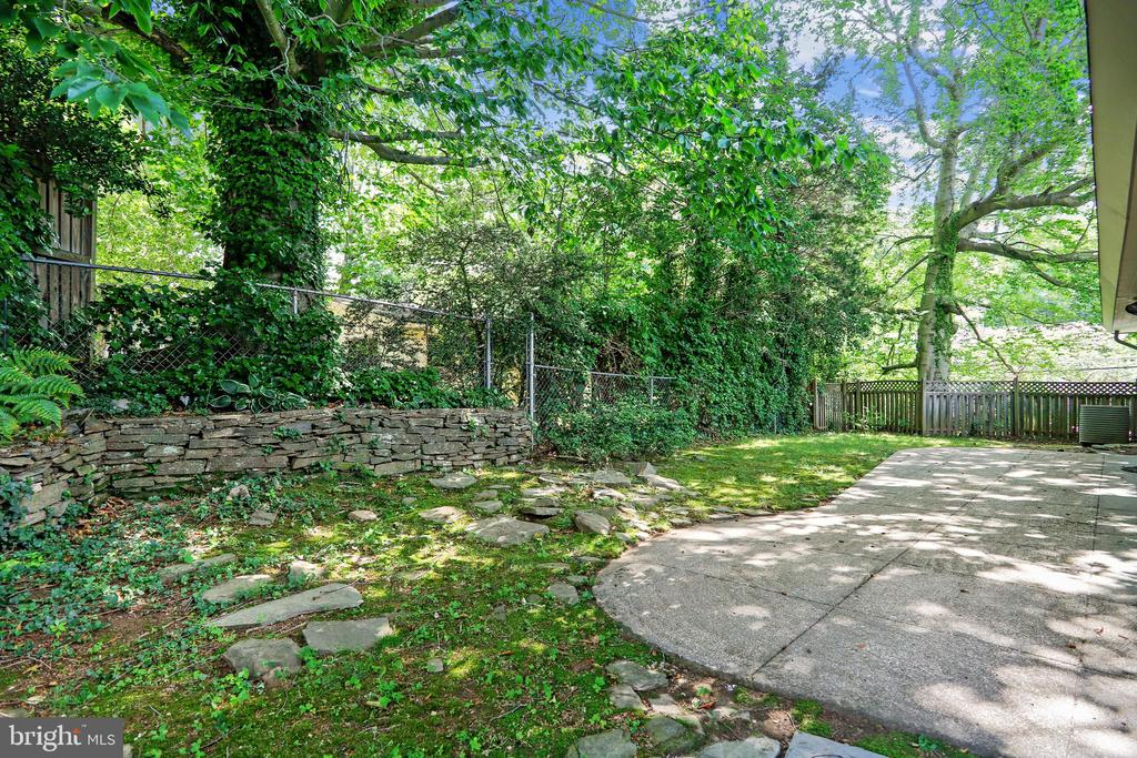 Shady backyard with patio to entertain or relax - 6801 GRANBY ST, BETHESDA
