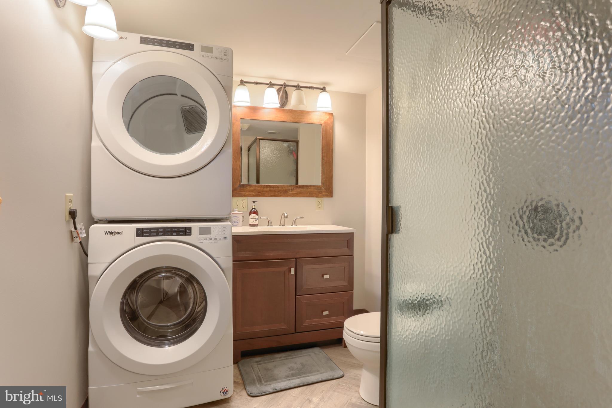 Lower Level Bathroom & Laundry Area