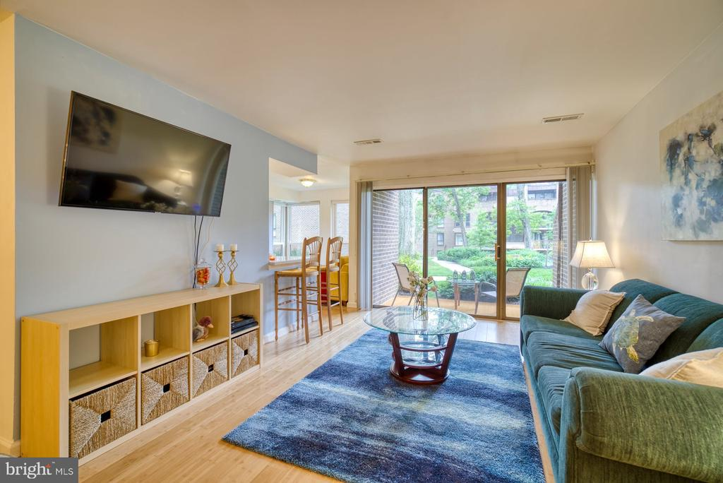 Living Room with Gorgeous Courtyard View - 11236 CHESTNUT GROVE SQ #164, RESTON