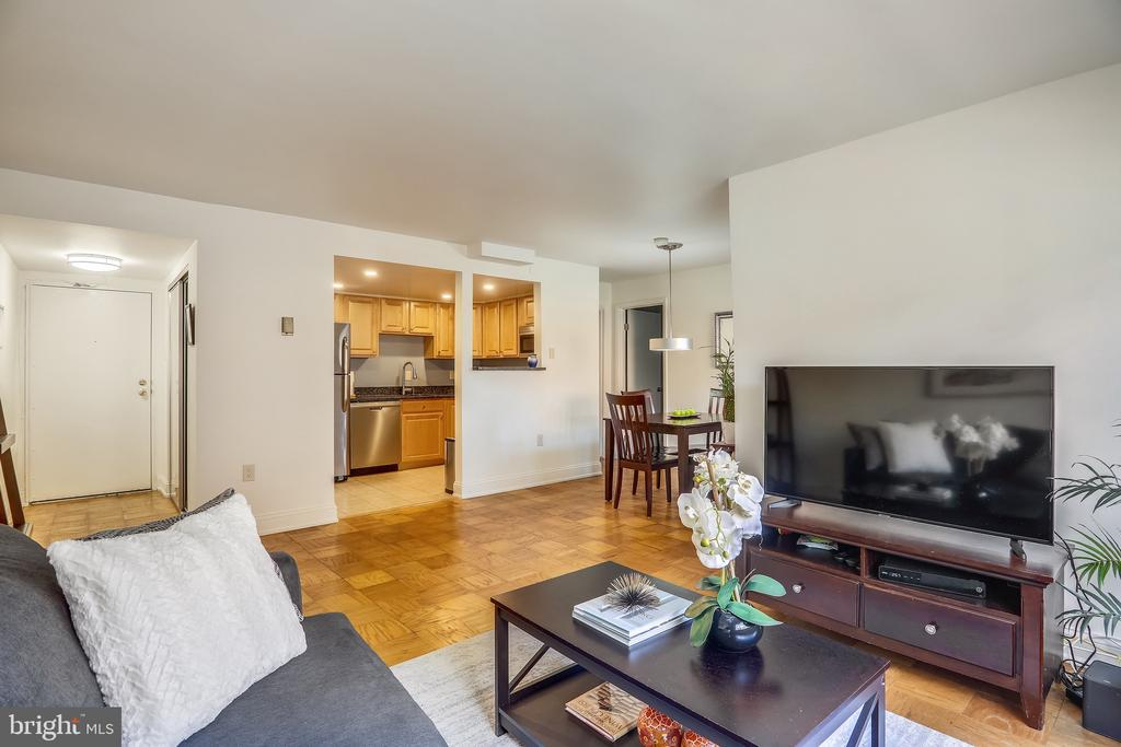 Interior View Looking Out from Living Room - 4555 MACARTHUR BLVD NW #G6, WASHINGTON