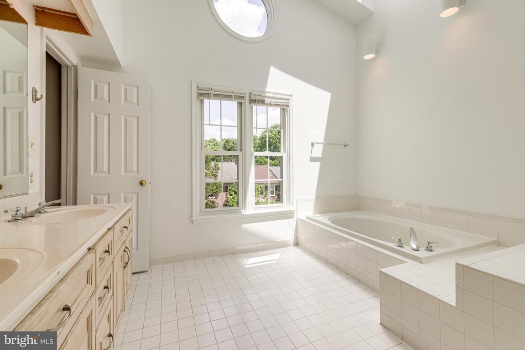 Primary bathroom with jacuzzi tub and skylight - 6151 BRAELEIGH LN, ALEXANDRIA