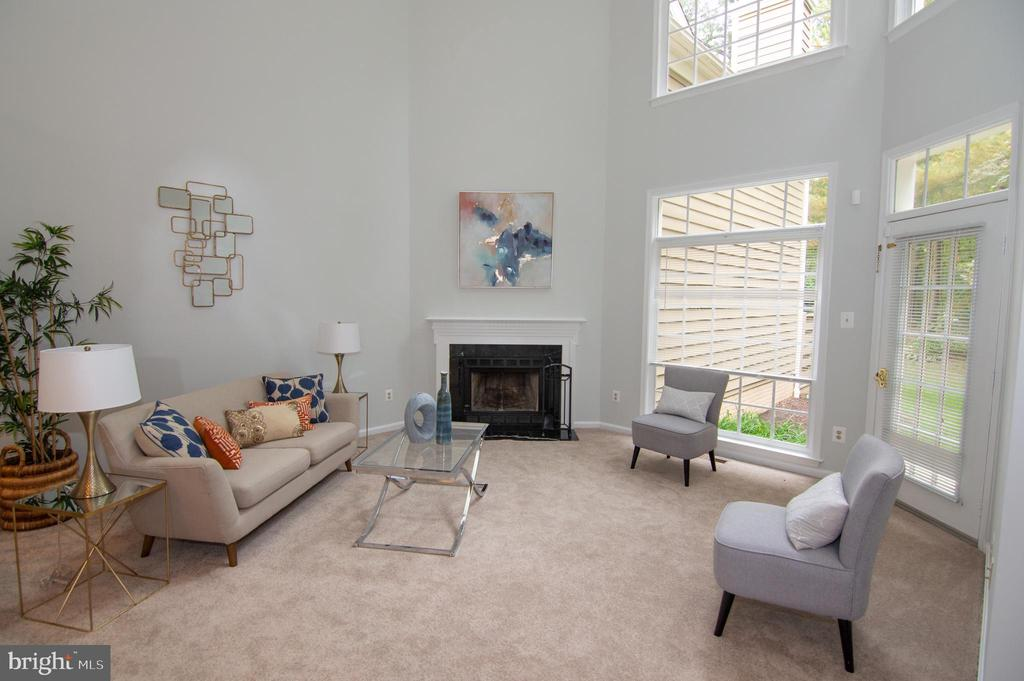 Living Room w/ Wood-Burning Fireplace - 11415 HOLLOW TIMBER WAY, RESTON
