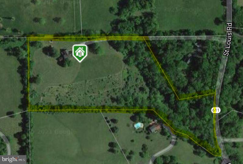 property lines highlighted - 20707 ST LOUIS RD, PURCELLVILLE