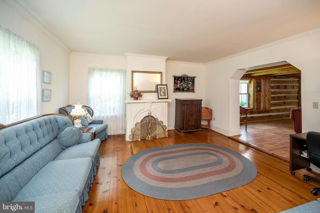 Living room with decorative fireplace - 402 HARRISON CIR, LOCUST GROVE