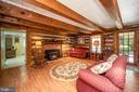 Wood beam ceilings and original log walls - 402 HARRISON CIR, LOCUST GROVE