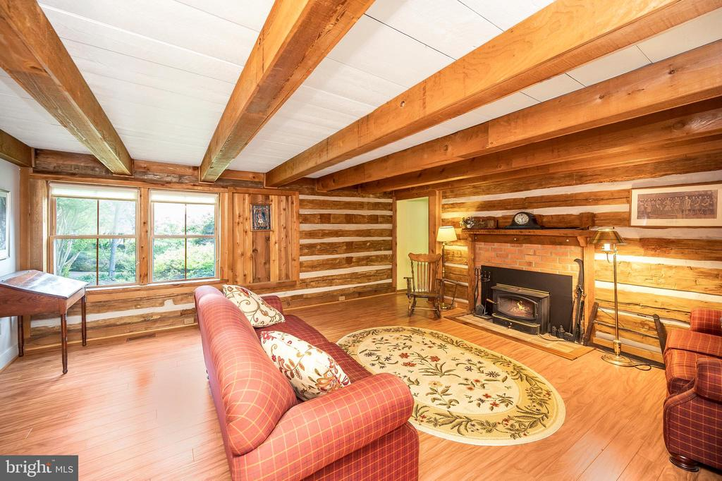 There is so much history in this amazing log room - 402 HARRISON CIR, LOCUST GROVE